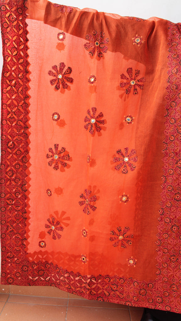 Ajrakh Block print Applique and Mirrorwork Orange Organdy Dupatta
