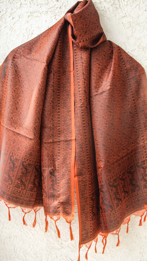 Benarasi Silk Burnt Orange Stole
