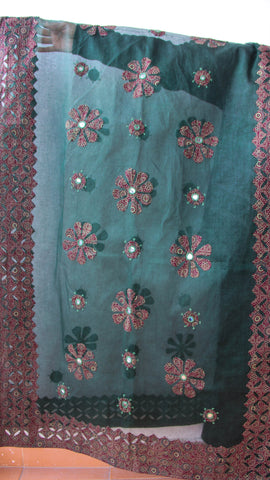 Ajrakh Block print Applique and Mirrorwork Green and Maroon Organdy Dupatta