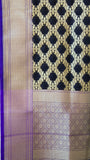 Benarasi Silk and Zari Grey and Black Suit Material with Black Dupatta