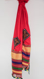 Pure Organic Cotton Blood Red and Yellow Kutch Embroidery Stole