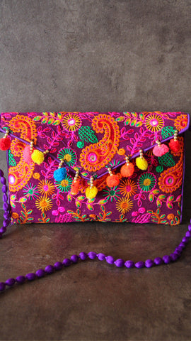 Fun Plum Envelope Clutch bag with Sling strap