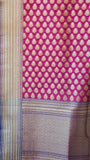 Benarasi Silk and Zari Grey and Magenta Suit Material with Magenta Dupatta