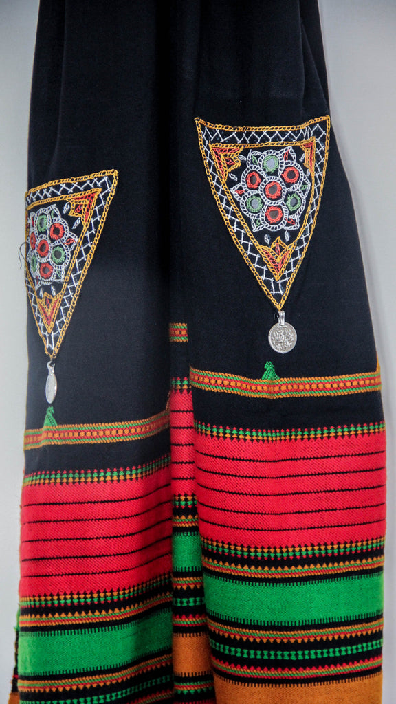 Pure Organic Cotton Black and Red Kutch Embroidery Stole