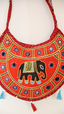 Ethnic Rajasthani Hand Embroidered Crescent Red Sling Bag