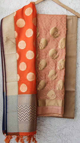 Benarasi Silk and Zari Ochre and Beige Suit Material with Carrot Pink Dupatta