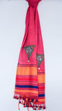 Pure Organic Cotton Rouge Pink and Yellow Kutch Embroidery Stole