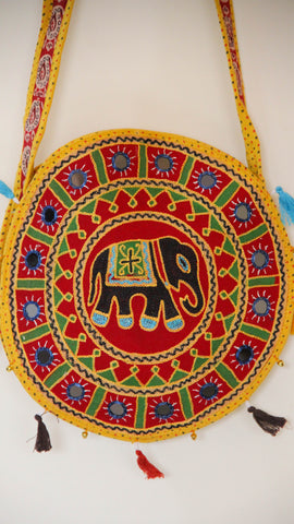 Ethnic Rajasthani Hand Embroidered Round Yellow Sling Bag