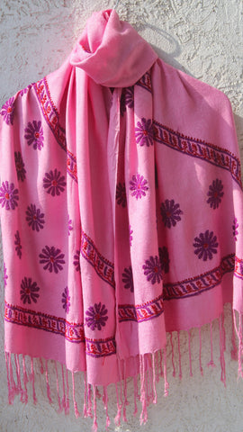 Lucknawi Chikan Embroidery Pink with Wine Stole
