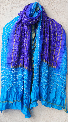 Handcrafted Bandhani Silk Gharchola Blue Dupatta with Zari Grid and Border