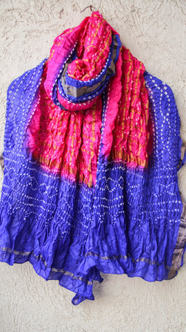 Handcrafted Bandhani Silk Gharchola Magenta and Blue Dupatta with Zari Grid and Border
