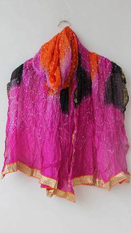 Handcrafted Bandhani Silk Magenta, Orange and Black Dupatta with Gota Border