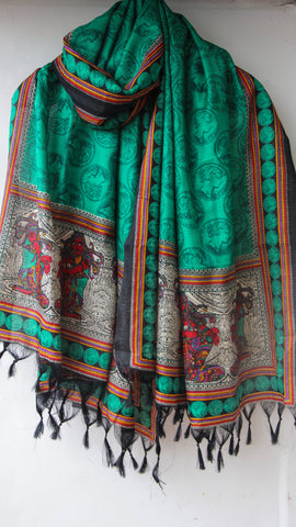 Bhagalpuri Jade Green and Black Printed Art Silk Dupatta