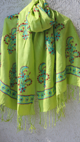 Lucknawi Chikan Embroidery Lime Green and Blue Stole