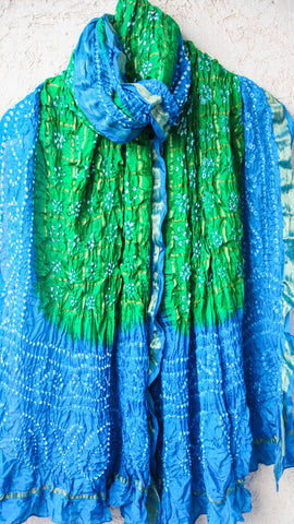 Handcrafted Bandhani Silk Gharchola Green and Blue Dupatta with Zari Grid and Border