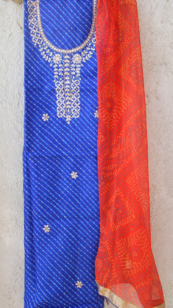 Rajasthani Handcrafted Gota Patti Leheria Royal Blue Kota Kurta with Orange Bandhani Print Dupatta