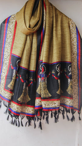 Bhagalpuri Beige and Black Printed Art Silk Dupatta
