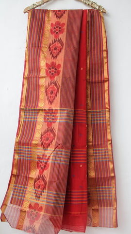 Handloom Ikkat Red Tant(Cotton) Saree with Blue Kalamkari Print Blouse