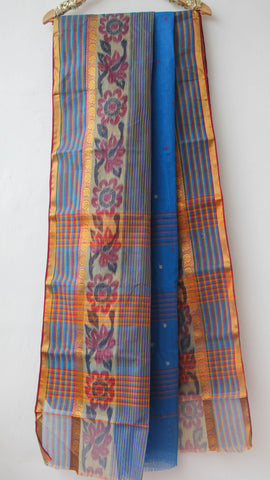 Handloom Ikkat Blue Tant(Cotton) Saree with Ochre Kalamkari Print Blouse