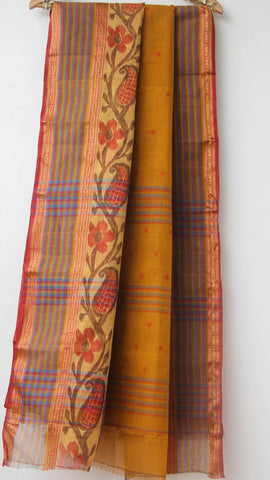 Handloom Ikkat Mustard Tant(Cotton) Saree with Maroon Kalamkari Print Blouse