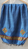 Woolen Pale Persian Blue Kutch Embroidery Stole