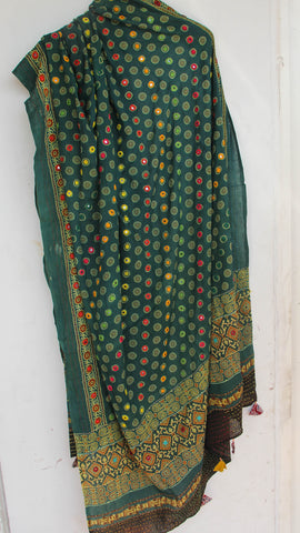 Ajrakh Embroidered with Mirrorwork Green and Black Natural Dyed Soft Cotton Dupatta