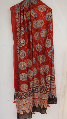 Ajrakh Embroidered with Mirrorwork Rust and Brown  Natural Dyed Soft Cotton Dupatta