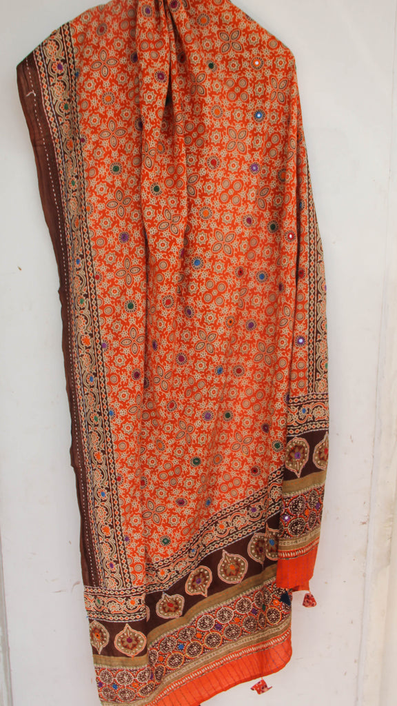 Ajrakh Embroidered with Mirrorwork Orange and Brown Natural Dyed Soft Cotton Dupatta