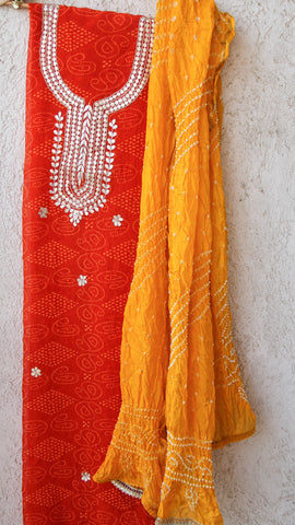 Rajasthani Handcrafted Gota Patti Orange Kurta with Yellow Bandhani Dupatta