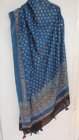 Ajrakh Embroidered with Mirrorwork Indigo and Black Natural Dyed Soft Cotton Dupatta