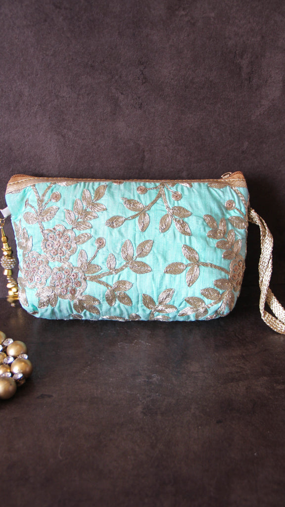 Ethnic Zari Embroidery Light Cyan and Gold Wristlet Party Bag