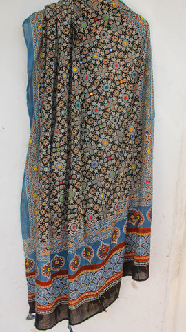 Ajrakh Embroidered with Mirrorwork Black and Indigo Natural Dyed Soft Cotton Dupatta