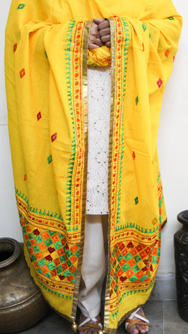 Cotton Yellow Hand Embroidered Phulkari Dupatta