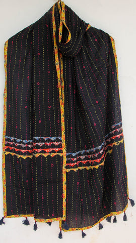 Kantha Embroidered with Ajkrakh patches and border  Black Cotton Stole