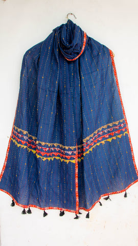 Kantha Embroidered with Ajkrakh patches and border  Blue Cotton Stole