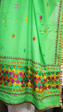 Cotton Green Hand Embroidered Phulkari Dupatta