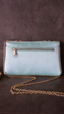 Bead and Crystal Mint Green Envelope Clutch Party Bag with Sling strap
