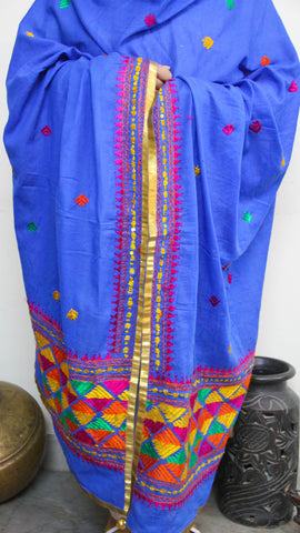 Cotton Blue Hand Embroidered Phulkari Dupatta