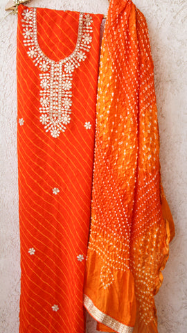 Rajasthani Handcrafted Gota Patti Orange Kurta with Tie and Dye Dupatta