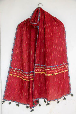 Kantha Embroidered with Ajkrakh patches and border Red Cotton Stole