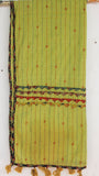 Kantha Embroidered with Ajkrakh patches and border Lime Green Cotton Stole
