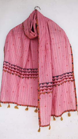 Kantha Embroidered with Ajkrakh patches and border Pink Cotton Stole