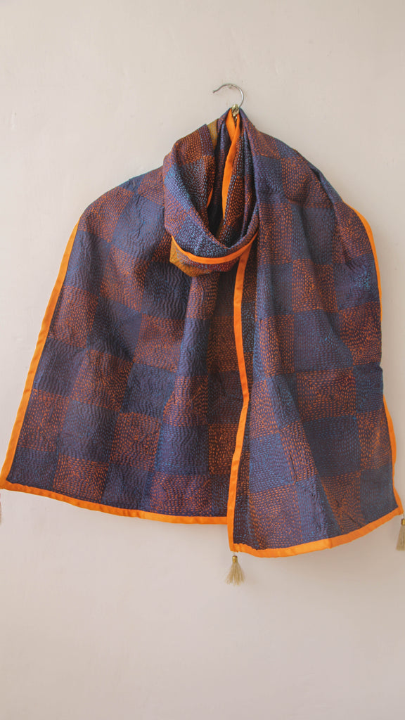 Dorkha Kantha Embroidery Reversible Silk Stole