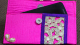 Zari Lace Magenta and Purple Clutch cum Wallet