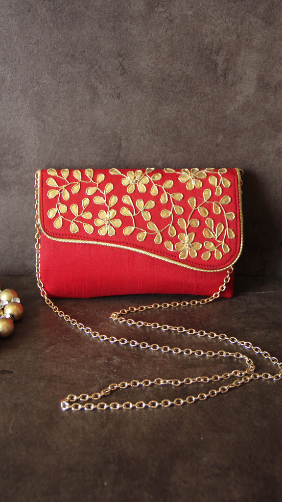 Ethnic Gotapatti Handwork Red and Gold Clutch Party Bag