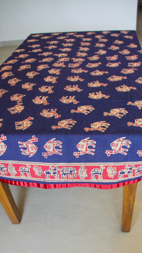 Jodhpuri Camel Handblock Printed Navy Blue and Maroon Cotton Table Cover