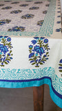 Jodhpuri Floral Handblock Printed Off-White Teal and Blue Cotton Table Cover