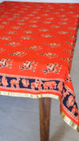 Jodhpuri Camel Handblock Printed Orange and Navy Blue Cotton Table Cover