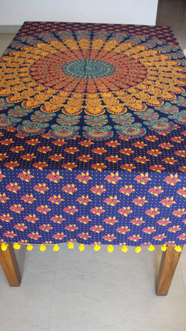 Jodhpuri Mandala Handblock Printed Navy Blue Cotton Table Cover