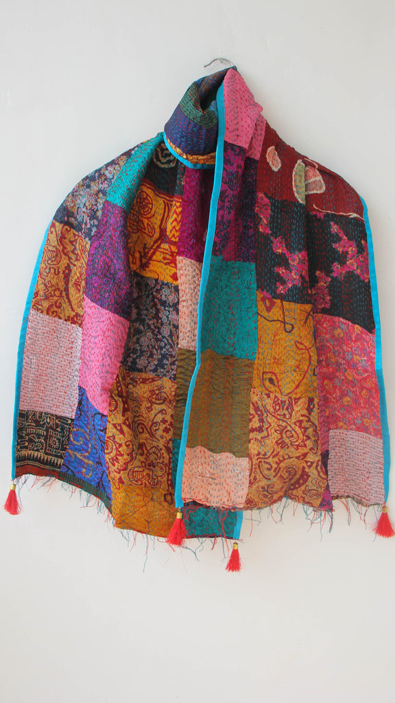 Dorkha Kantha Embroidery Reversible Silk Patchwork Stole